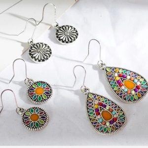 BOGO 3 Earring Set Multicolor Boho Teardrop Mosaic